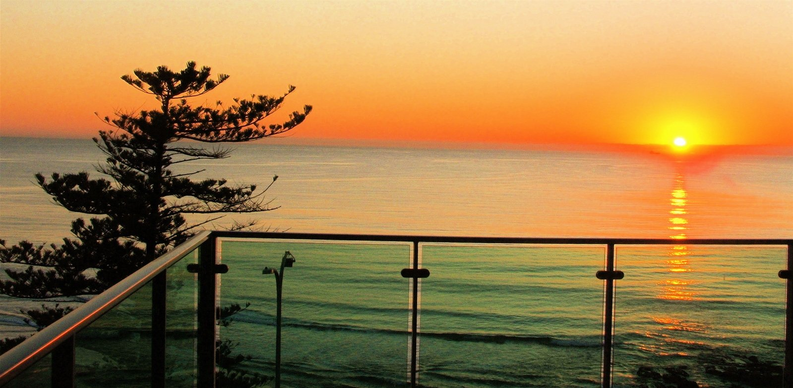 balkón, more, slnko